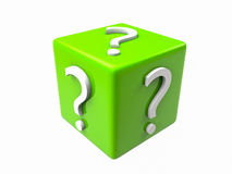 3D Question Cube. 3D Cube with question marks on top Stock Images