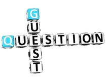 3D Question Guest Crossword Royalty Free Stock Photography