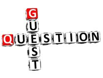3D Question Guest Crossword Stock Photography