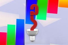 3d Question in a light bulb illustration Stock Image