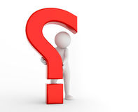 3d question mark being hold by a toon man. FAQ, ask, search concepts Royalty Free Stock Photos
