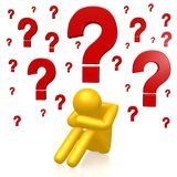 3D question mark concept. Cartoon character, question marks, white background royalty free illustration