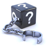 3d Question mark dice on a shackle. 3d render of a black dice on a leg iron Royalty Free Stock Photography