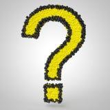 3d question mark made of balls. 3d render of question mark made of yellow and black balls Stock Photography