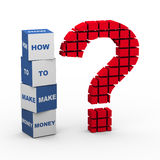 3d question mark make money. 3d rendering of block question mark and text boxes how to make money Royalty Free Stock Photography