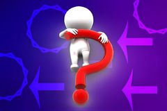 3d question mark on man illustration Royalty Free Stock Photos