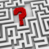 3d question mark in maze Royalty Free Stock Image