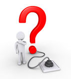 Question mark plugged in and a person. 3d question mark is plugged in and person wondering Royalty Free Stock Photo