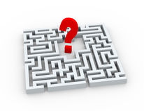 3d question mark symbol in the maze Royalty Free Stock Image