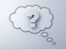 3d question mark in thinking bubble. Over white background stock illustration
