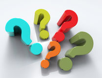 3d question marks background. Random colorful 3d question marks background stock illustration