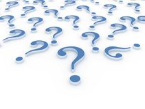 3D question marks. Blue 3D question marks on white background royalty free illustration