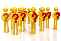 3D question marks concept. Cartoon characters, question marks, white background stock illustration