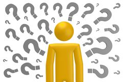 3D question marks concept. Cartoon character, question marks, white background stock illustration