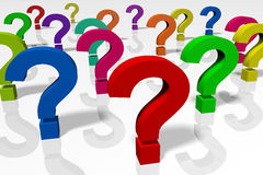 3D question marks, concept, idea, problem solving Royalty Free Stock Images