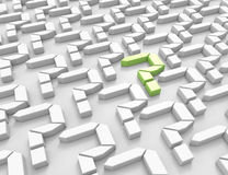 3d question marks one green Royalty Free Stock Image