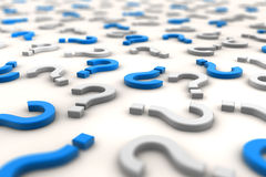 3D question marks over white background - shot 2 Royalty Free Stock Images
