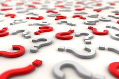 3D question marks over white background - shot 1 Royalty Free Stock Images