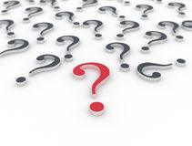 3D question marks single red Royalty Free Stock Images
