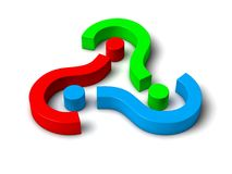3d question marks. Sorted  circualy Stock Photos