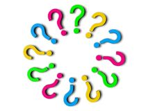 3d question marks. Sorted  circuarly Stock Images