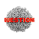 3d questions word sphere Royalty Free Stock Image