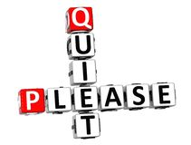 3D Quiet Please Crossword. On white background royalty free illustration