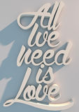 3D quote text. All we need is love Royalty Free Illustration