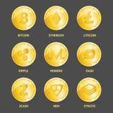 3d réaliste a détaillé de cryptos pièces de monnaie réglées Vecteur illustration libre de droits