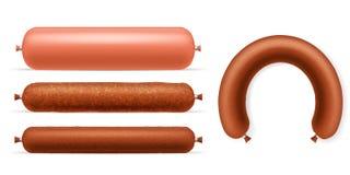 3d réaliste a détaillé le type différent ensemble de saucisses Vecteur illustration libre de droits