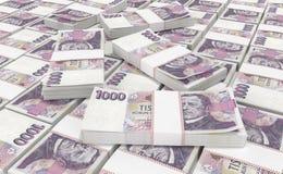 3D réalistes rendent de l'argent national de couronne de couronne tchèque de ceska dans la République Tchèque illustration de vecteur
