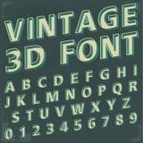 3d rétro type police, typographie de vintage Photos stock