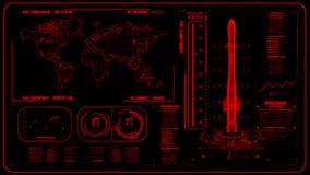 3D röda HUD Rocket Interface Motion Graphic Element stock illustrationer