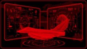3D röda Jet Fighter HUD Interface Motion Graphic Element vektor illustrationer