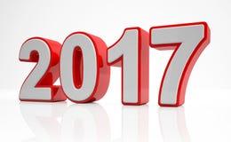 3d - rött begrepp 2017 för nytt år - Royaltyfria Bilder