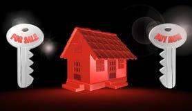 3d rött hus, illustration Arkivbild
