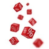 3D rabata pudełek kostka do gry dla sklepu wprowadzać na rynek i robią zakupy Sprzedaży promocyjny pojęcie 3d rabata sprzedaży pr Obraz Royalty Free