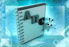 3d rabbit abc note concept Stock Photography