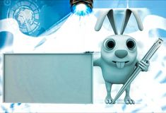 3d rabbit abstract board and pen illustration Stock Images