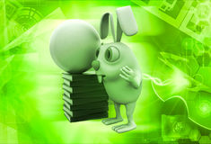 3d rabbit with abstract globe and books illustration Stock Photo