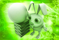 3d rabbit with abstract globe and books illustration Royalty Free Stock Images