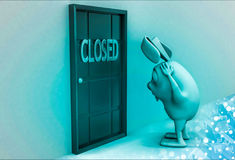 3d rabbit against door with closed text in red illustration Royalty Free Stock Photos
