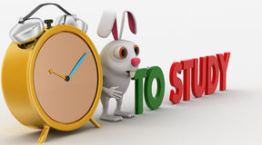 3d rabbit with alarm clock and to study concept Stock Images