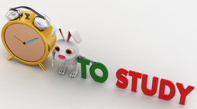 3d rabbit with alarm clock and to study concept Stock Photos