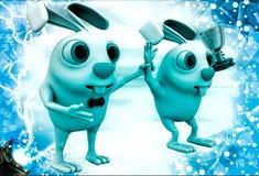 3d rabbit announce winner illustration Royalty Free Stock Images