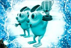 3d rabbit announce winner illustration Royalty Free Stock Photo