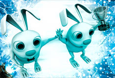 3d rabbit announce winner illustration Royalty Free Stock Photos