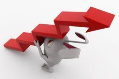 3d rabbit arrow stairs concept Stock Image