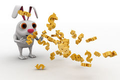 3d rabbit attracting golden dollar symbol concept Royalty Free Stock Images