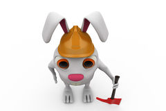 3d rabbit with axe and hat  concept Stock Image